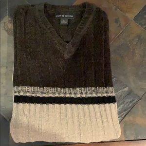 Men's Velour V-Neck Sweater.  Size XLT.
